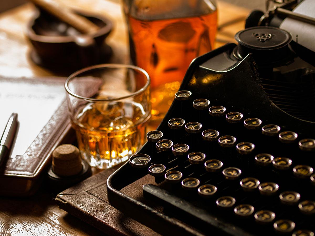 typewriter and drinks