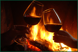Homestead Suites 2013 winter specials_wine-fireplace