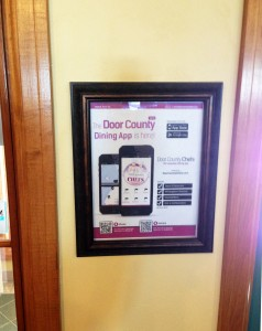 Look for these framed QR posters at Door County Lodgings to download our free Door County Chefs dining App!